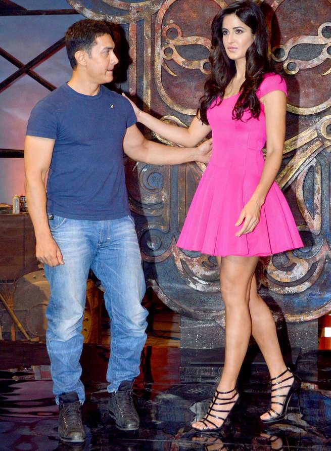 Katrina Kaif in high heels with Aamir Khan