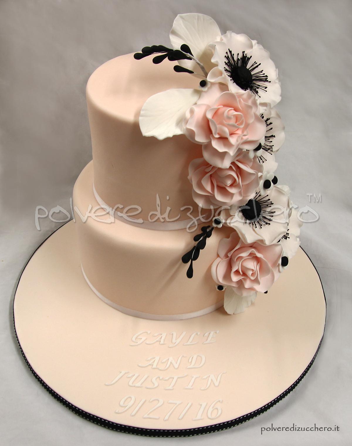 Cake Design Ricette Pasta Di Zucchero : Wedding cake: torta nuziale con rose ed anemoni in pasta ...