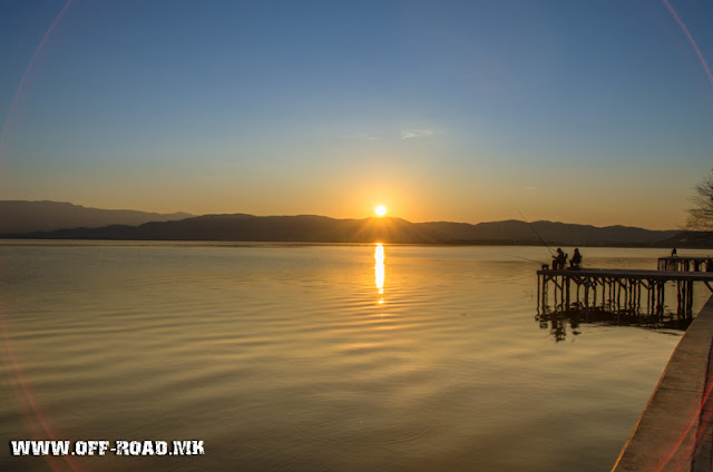 Fishing at Dojran Lake, Macedonia - sunrise scene