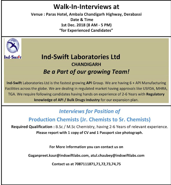 Ind-Swift Laboratories Ltd Walk In Interview For Experienced Candidates at 1 December