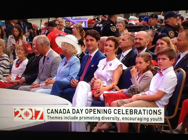 Screenshot CBC coverage Canada 150, Ottawa - Front row seats for Prince Charles, Camilla, Justin, Sophie and their kids