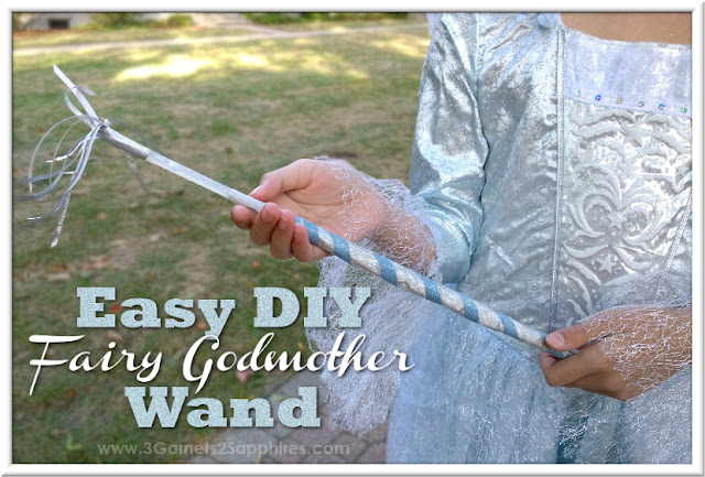 Easy DIY Fairy Godmother Magic Wand Craft  |  www.3Garnets2Sapphires.com