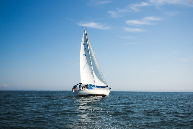 sailboat on the water with blue skies