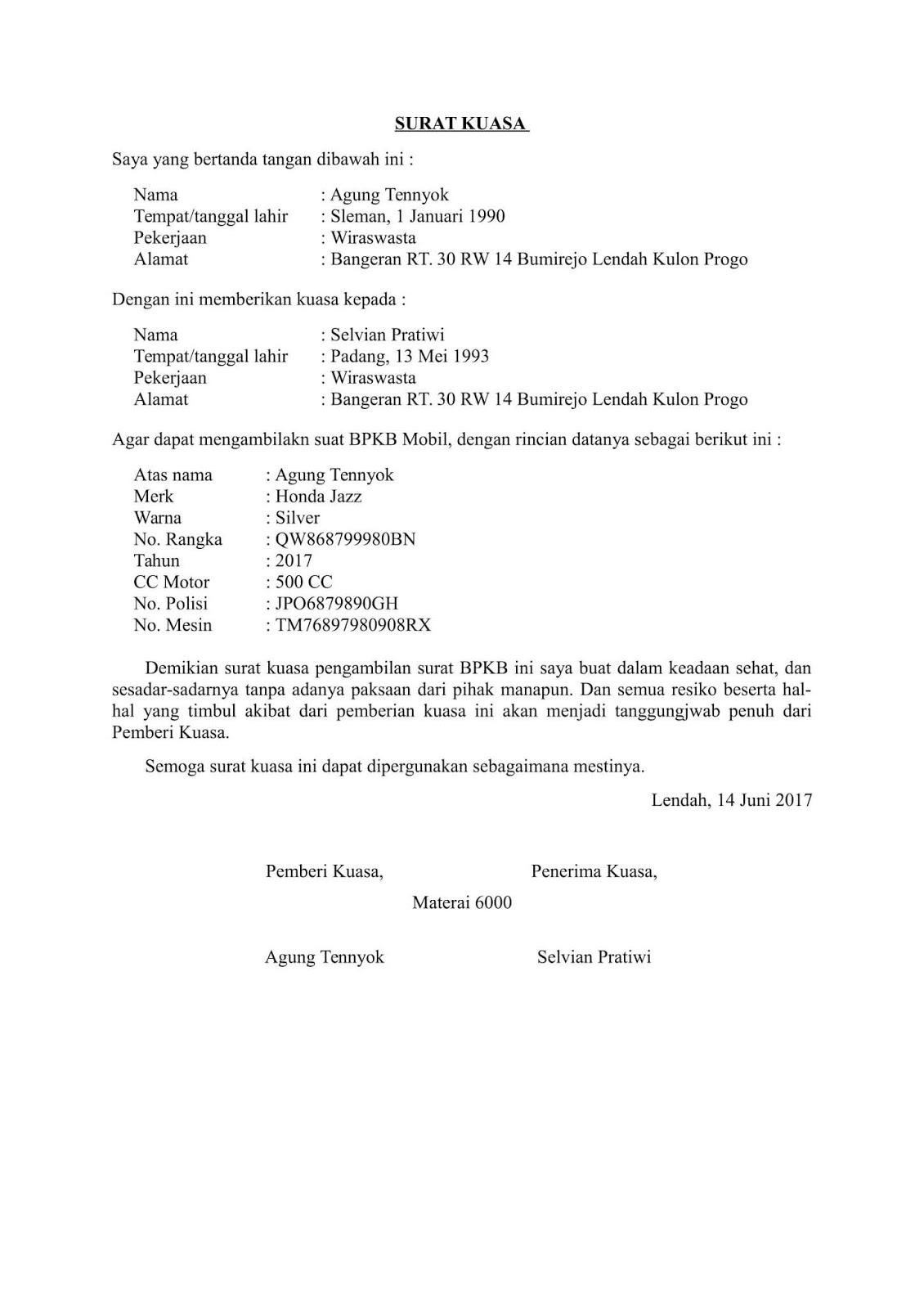 15 Contoh Surat Kuasa Untuk Balik Nama Motor Kumpulan Contoh Surat