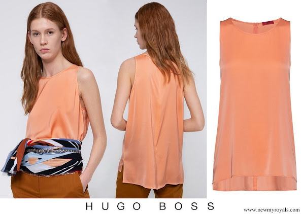 Meghan Markle wore Hugo Boss Regular-fit sleeveless top in stretch silk
