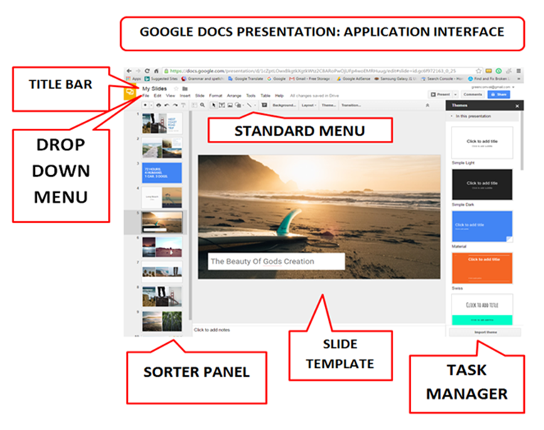 google docs presentation user interface parts and functions