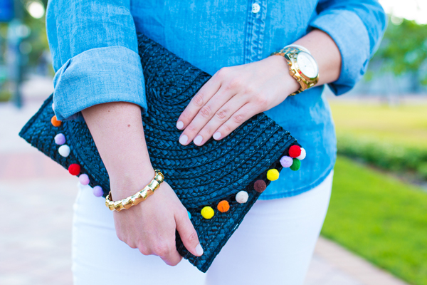 Pom-pom clutch perfect for summer.