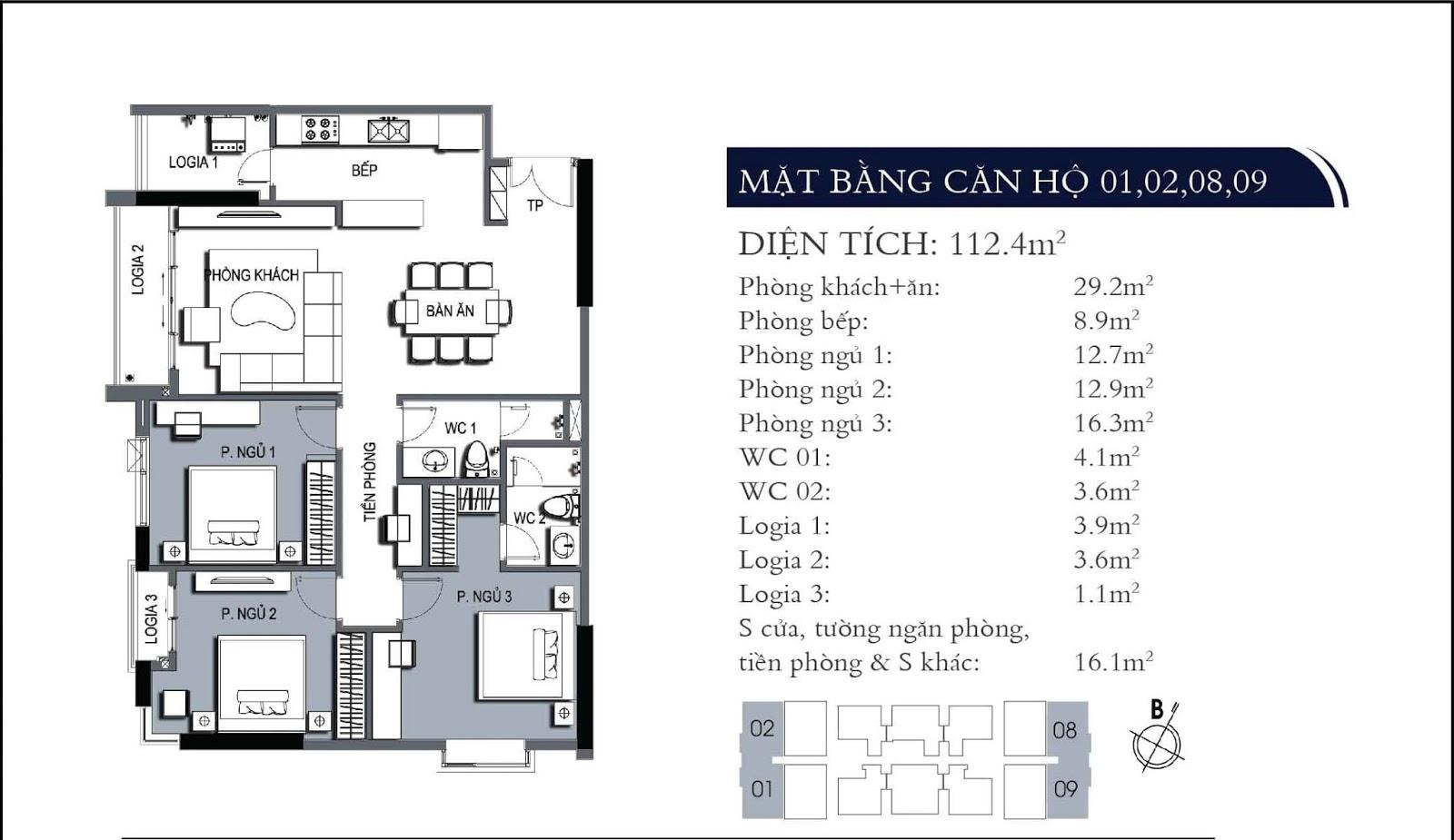 Mặt bằng căn hộ 01 02 08 09 dự án One 18 Ngọc Lâm