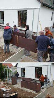 Cortenstahl, Pflanztröge, Terrasse, Garten für ein Siedlerhaus