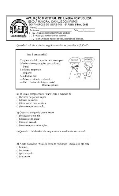 PROVA DE PORTUGUES 5 ANO 3 BIMESTRE