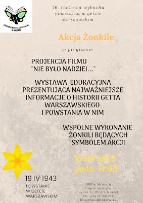 Plakat informujący o możliwości dołączenia do akcji Żonkile