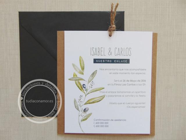Invitación elegante de estilo rústico, sencillo y con encanto