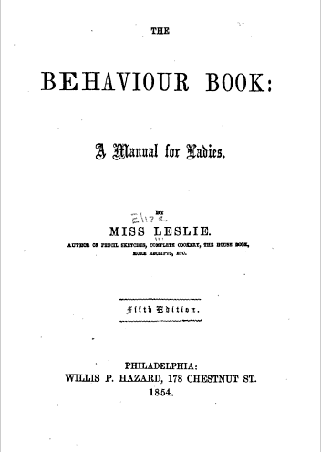 Title page to The Behavior Book by Eliza Leslie.