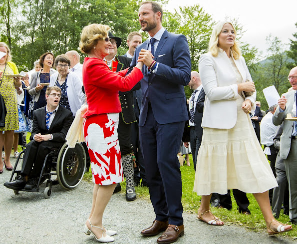 King Harald, Queen Sonja, Crown Princess Mette-Marit, Crown Prince Haakon attend a Garden Party in Bergen