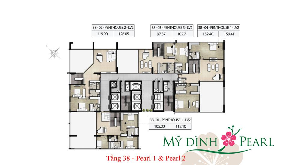 Mặt bằng điển hình tầng 38 tháp Pearl 1, Pearl 2