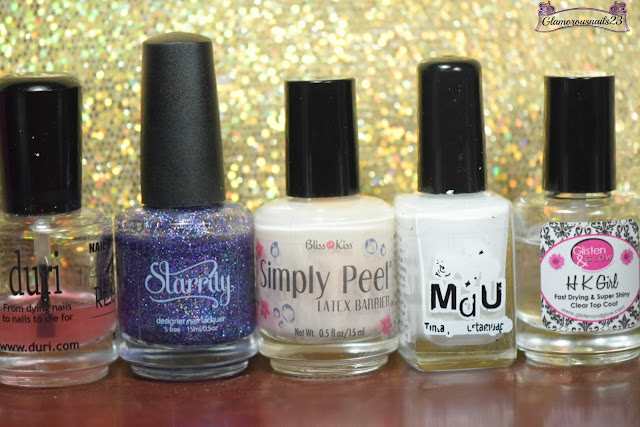 Duri Rejuvacote, Starrily Orion's Belt, Bliss Kiss Simply Peel Latex Barrier, Mundo De Unas White,Glisten & Glow HK Girl Fast Drying Top Coat
