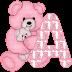Abecedario con Osito de Peluche Rosado. Alphabet with Pink Bear.