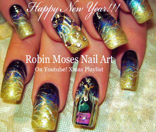 Nail Art By Robin Moses Happy New Year 2016 New Years Nails New