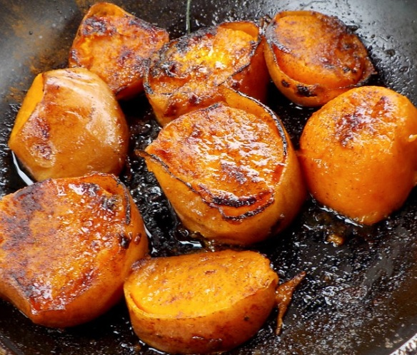 Sautéed yams are a delightful alternative to potatoes and so much trendier.