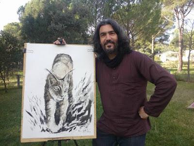 Día Internacional del Lince Ibérico. Pintura de Diego Ortega Alonso Wildlife Art