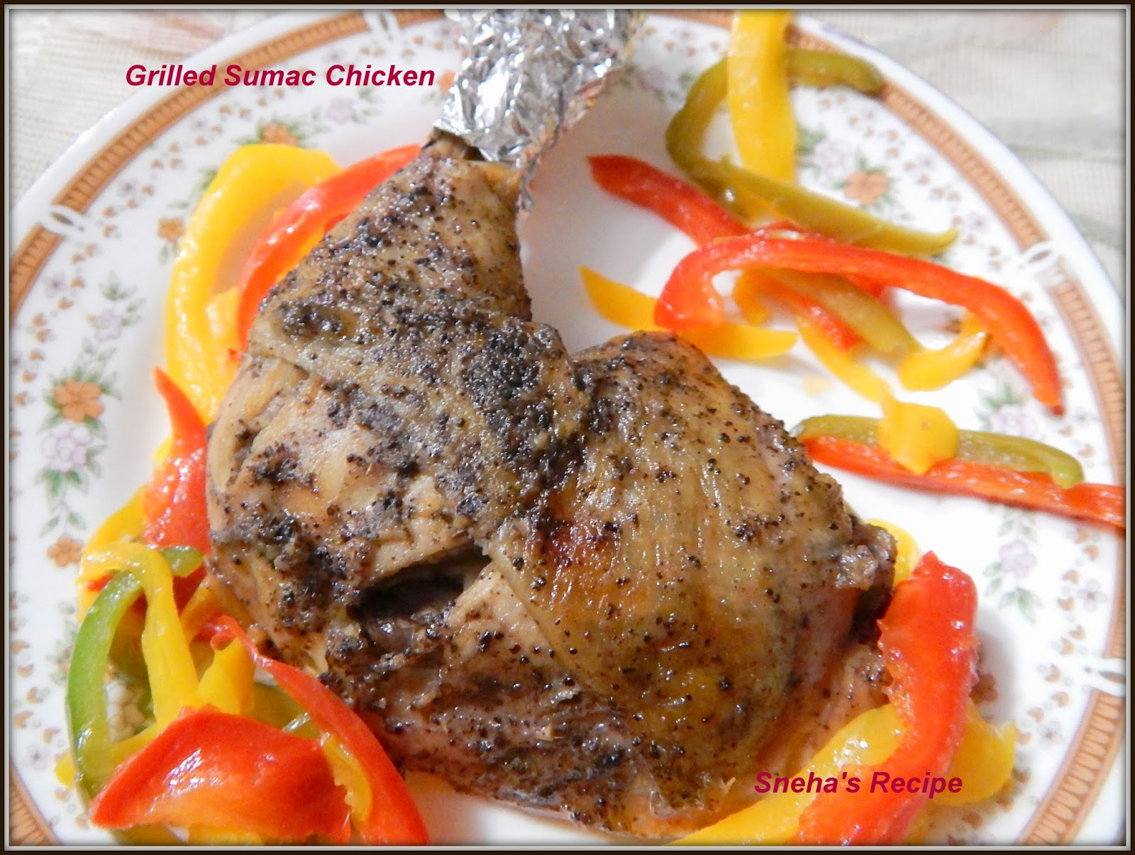 Grilled sumac chicken middle eastern cuisine snehas recipe a whole chicken is quartered you can also use skin on bone in chicken thighs or breasts for this toojust remember to adjust cooking time forumfinder Image collections