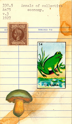 cuba postage stamp mushroom mexican loteria frog la rana library due date card Dada Fluxus mail art collage