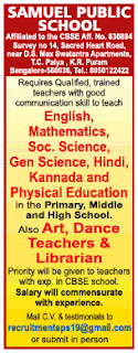 Samuel Public School, Bangalore Recruitment 2019  Teachers / Librarian Jobs