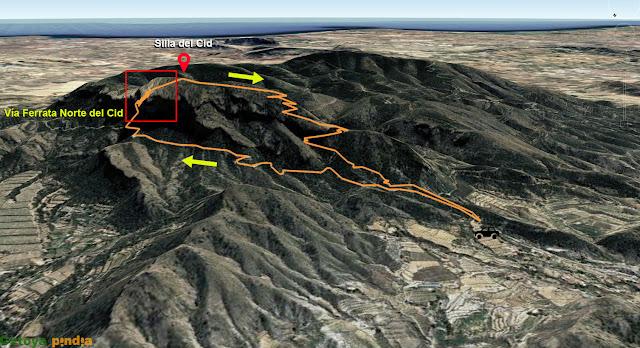 Ascensión a la Silla del Cid por la Ferrata Norte del Cid y regreso por la vía normal.