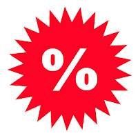 Image of a bright red star with a percent sign in it to indicate discounts