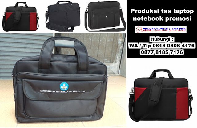Produksi tas laptop atau notebook promosi cetak logo