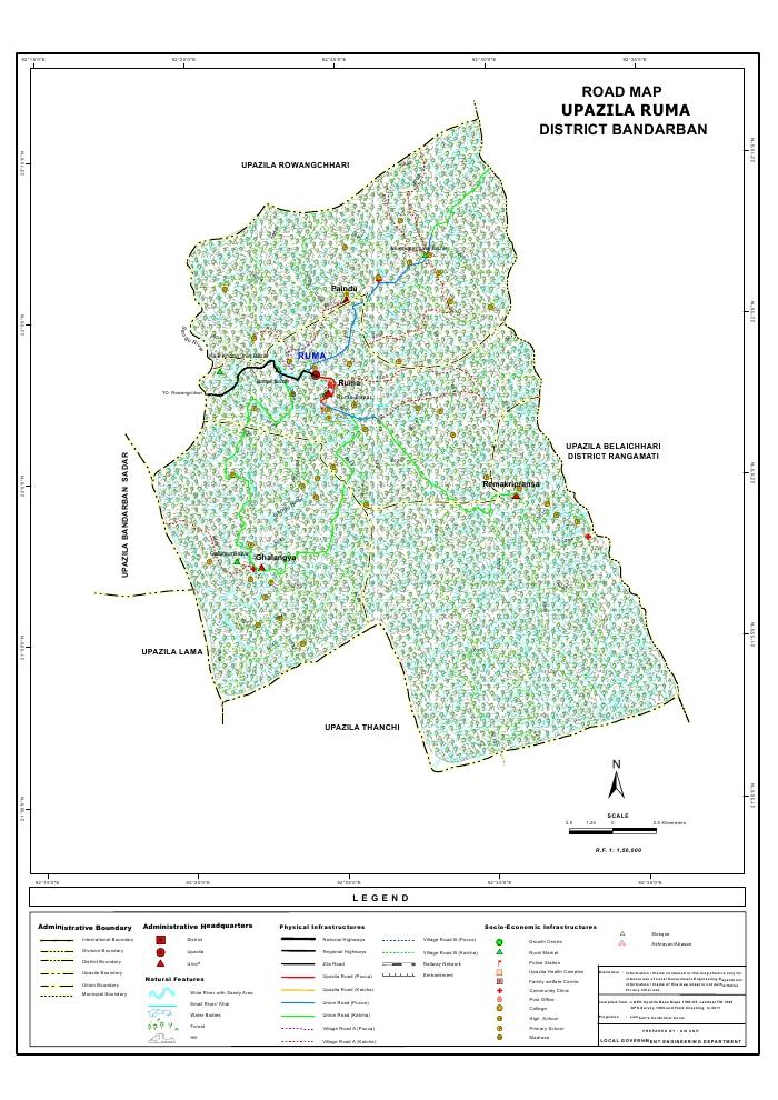 Ruma Upazila Road Map Bandarban District Bangladesh