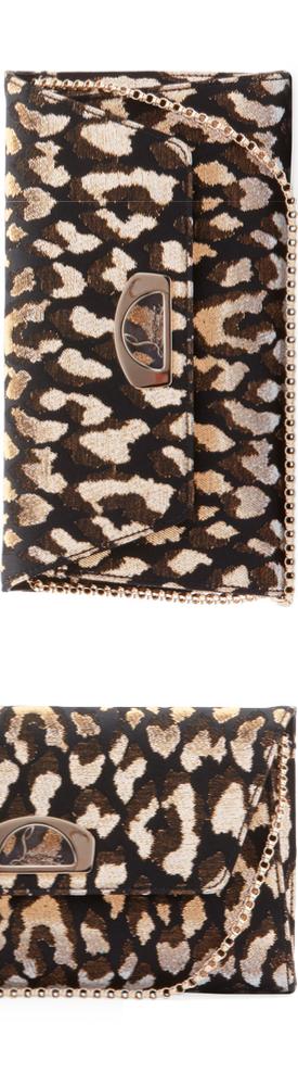 Christian Louboutin Vero Dodat Metallic Leopard-Print Clutch