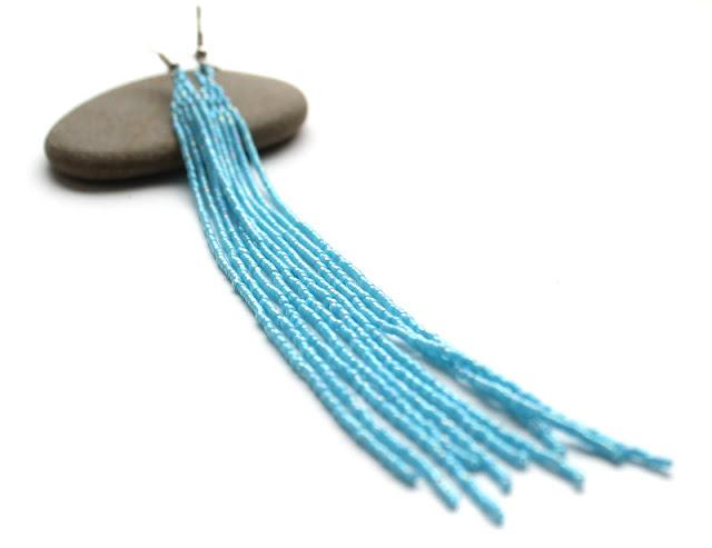 купить очень длинные сережки бижутерия я голубого цвета из бисера