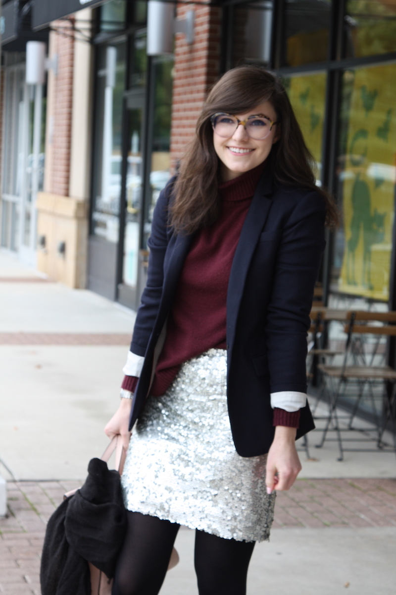 2017, turtleneck, OOTD, fall, winter, sequins, J.Crew,