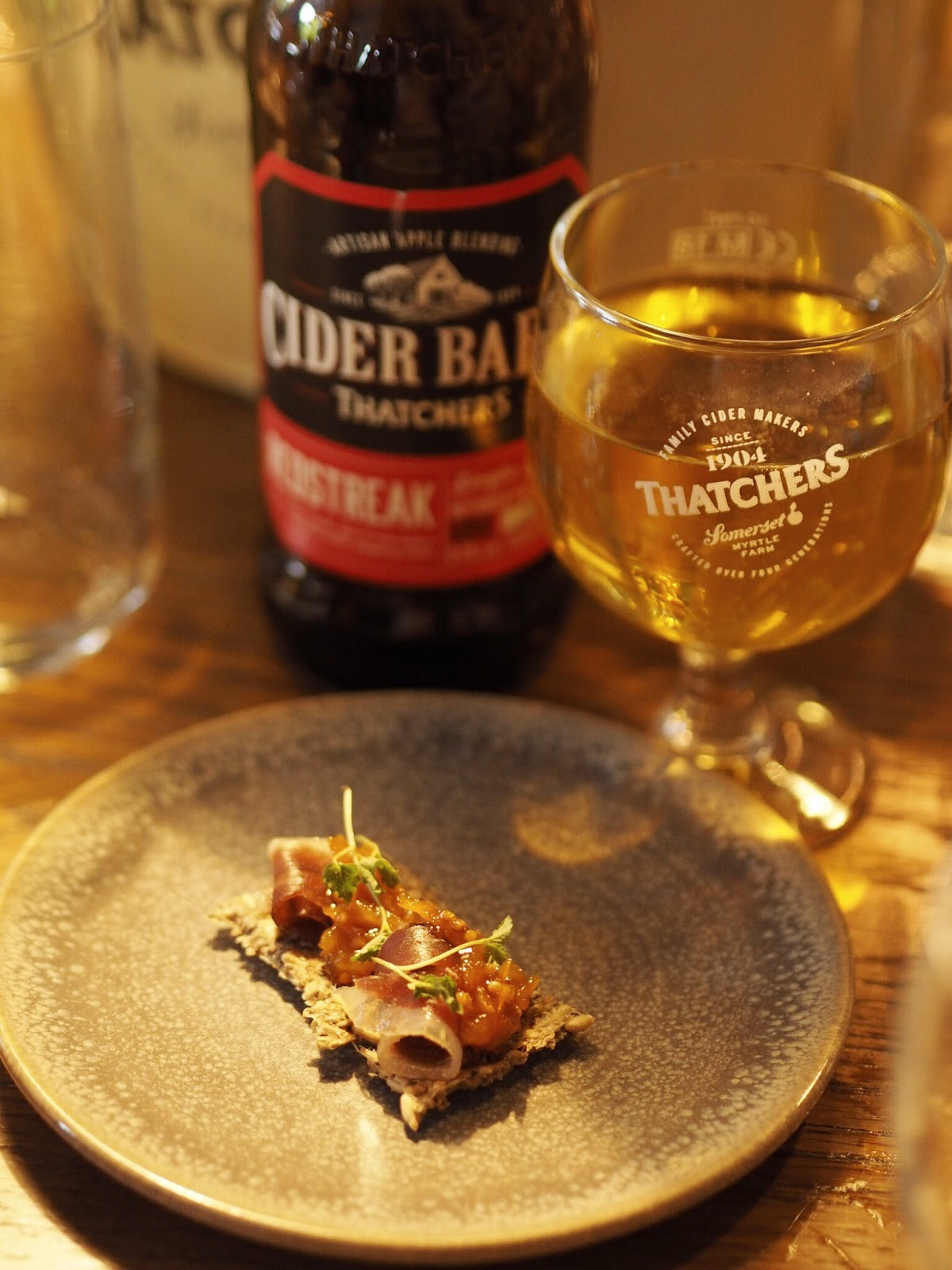 Thatchers Redstreak with Cured Duck Breast on Chia Cracker