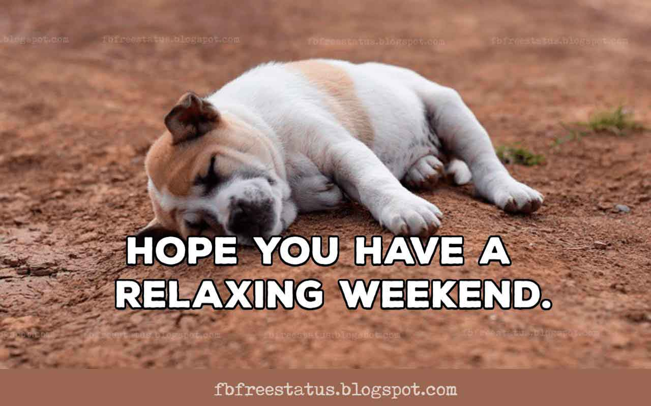 Happy Weekend, Hope You Have a Relaxing Weekend.
