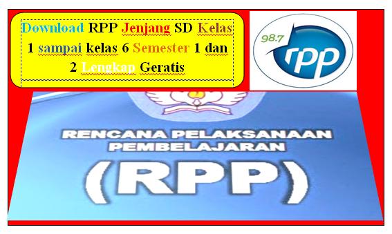 Download RPP Jenjang SD Kelas 1 sampai kelas 6 Semester 1 dan 2 Lengkap Geratis