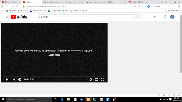 Youtube Server Down : The Most Popular Video Steamin Website Youtube Not Working.    500 Internal Server Error  Sorry, something went wrong.