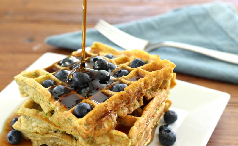 Gluten Free Blueberry Zucchini Waffles by The Fit Foodie Mama