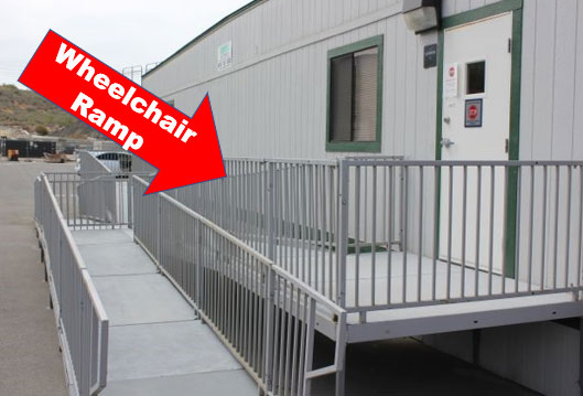 handicap wheelchair ramps and osha stairs for mobile modular trailers