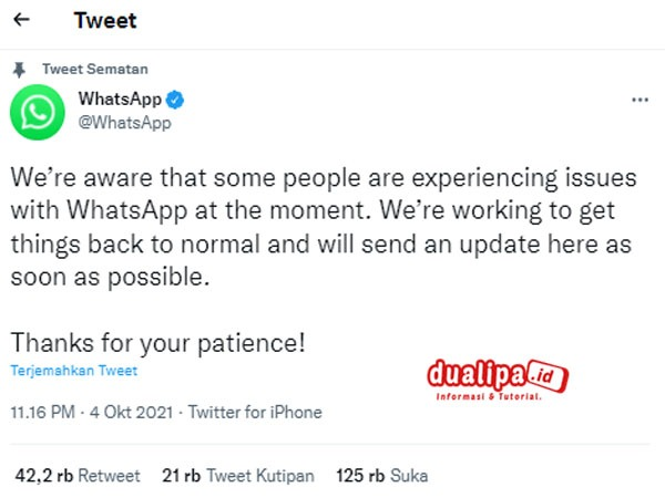 WhatsApp Error  Hari Ini 4 Oktober 2021