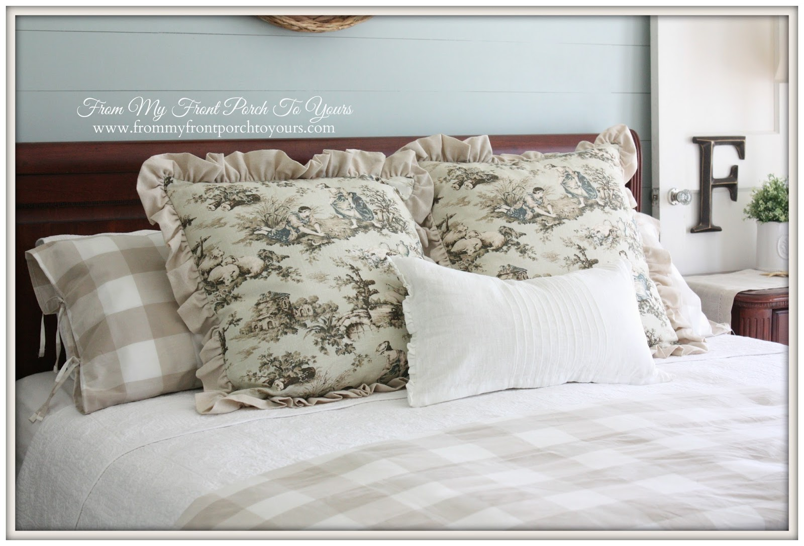 From My Front Porch To Yours- Toile Shams and Bedding