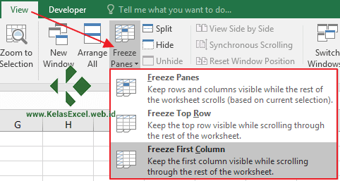 Menu Freeze Panes Excel