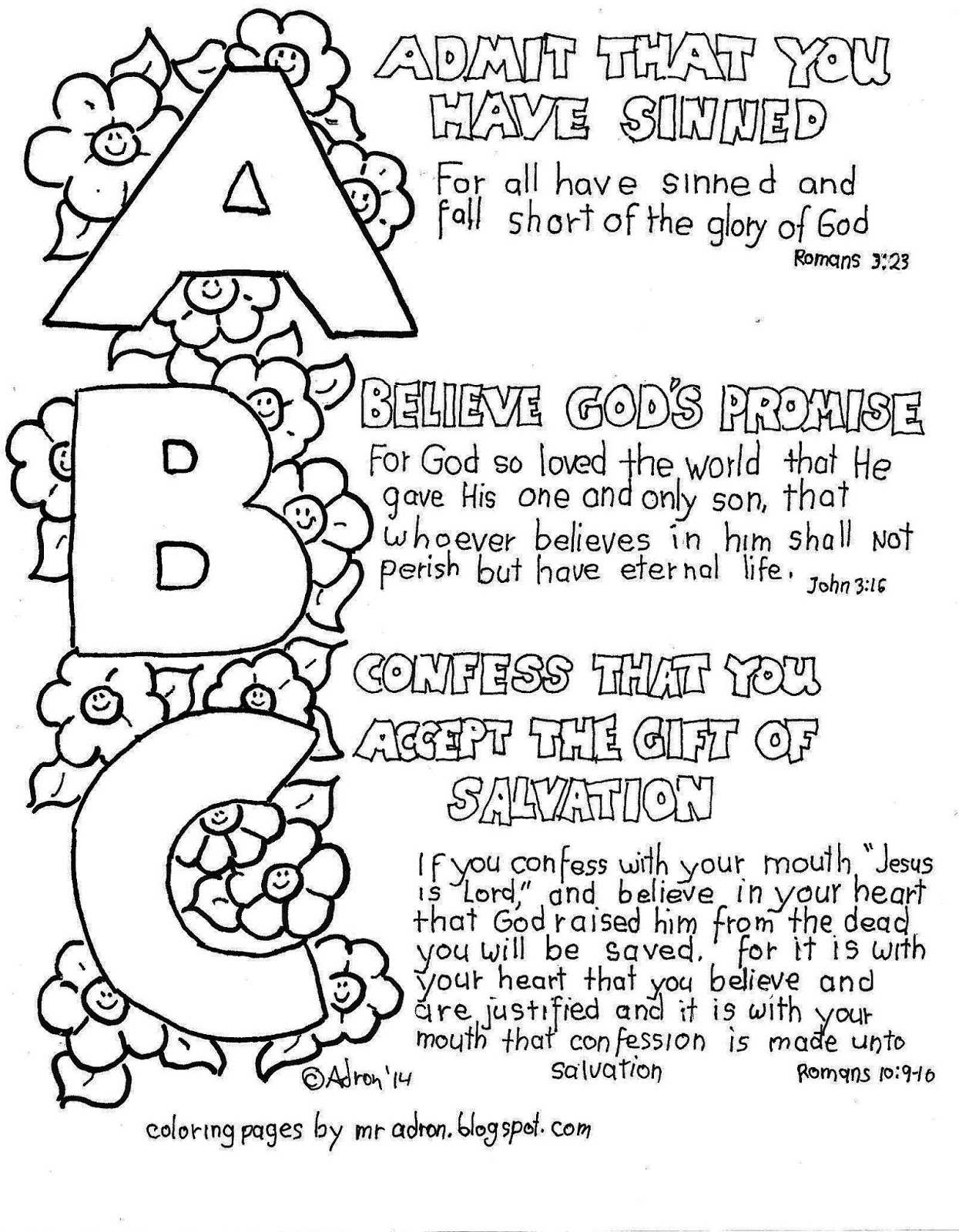 abc of the gospel coloring page