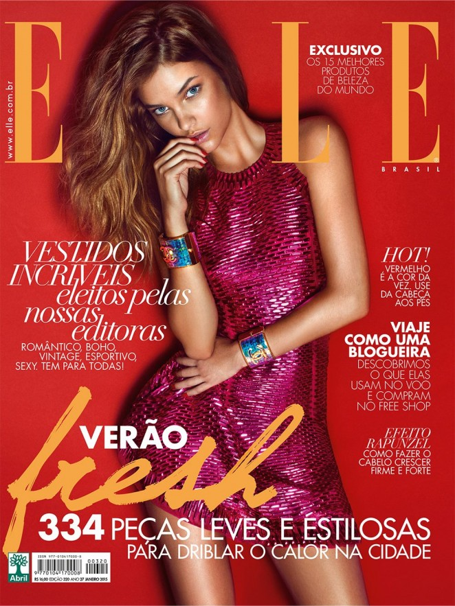 Barbara Palvin wears a metallic pink mini dress for the Elle Brazil January 2015 cover