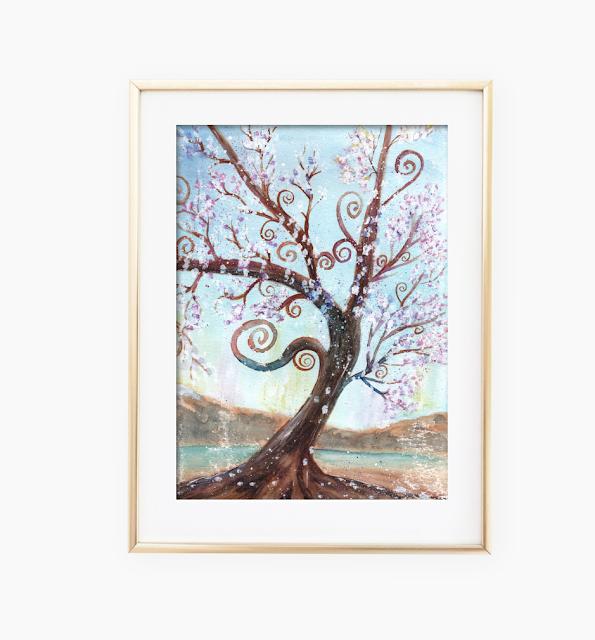 Watercolor Enchanted Tree Art Print