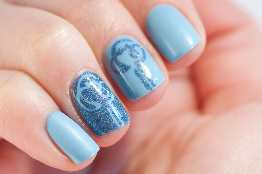 One Line Nail Art : Two tone blue nail art may contain traces of polish
