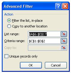 menggunakan advanced filter excel