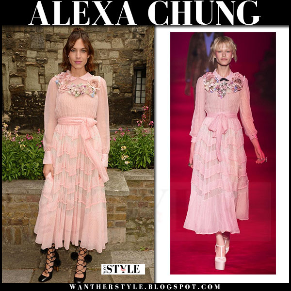 Alexa Chung In Pink Long Sleeve Midi Dress And Black Lace Up