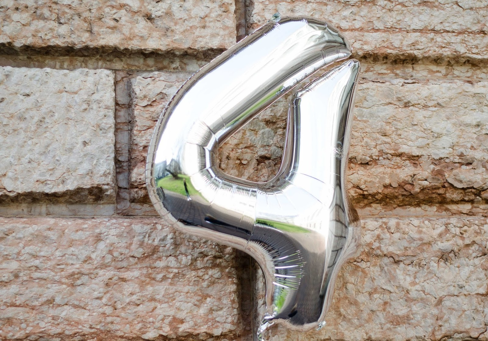 big number 4 silver foil birthday balloon